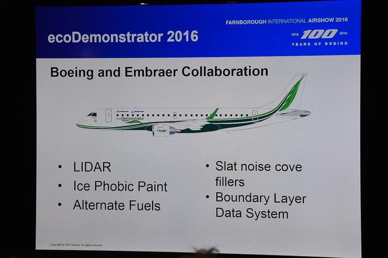 エンブラエルと共同で開発した、環境性能向上を目指した新技術を搭載する「ecoDemonstorator 2016」のフライトテストを夏に実施