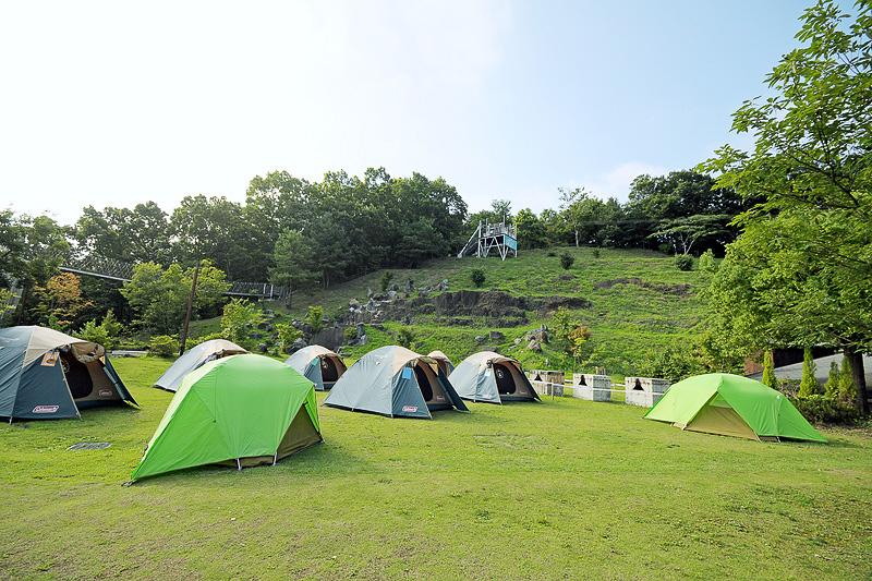 テントを張ってキャンプする宿泊プログラムもある。上に見えるのは、メガジップライン つばさのスタートデッキ
