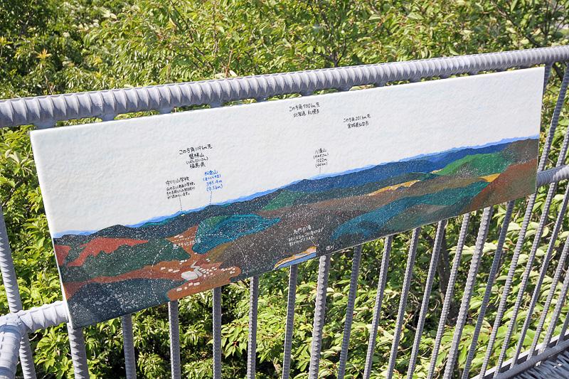 景色が忠実に再現されている案内板。北海道や、南極の昭和基地の方角など、なにが書かれているのか探すのも面白い