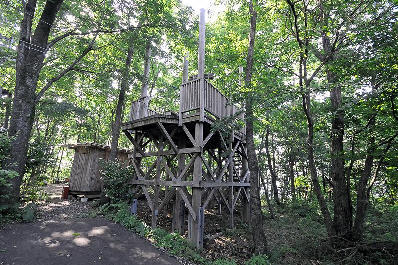 樹冠タワーの近くにあるジップライン ムササビのスタートデッキ