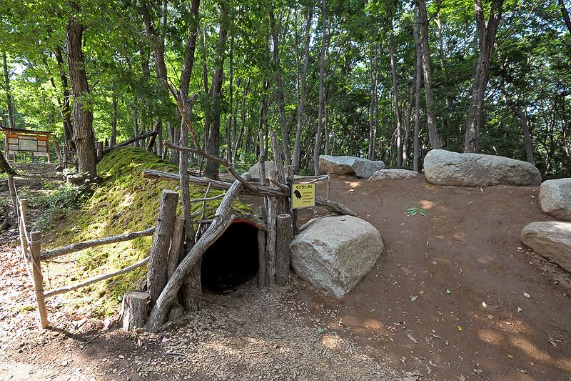 土のなかに設置された長さ8mのトンネルをくぐり抜ける「モグラトンネル」