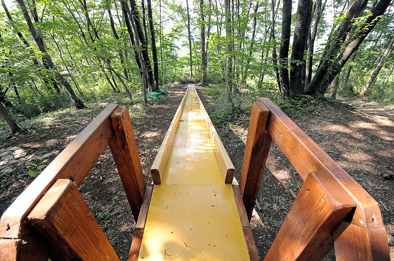 夏休み用に作られたアトラクション。長い下り坂にいくつも設置された「ウサギのかけあがりすべり台」