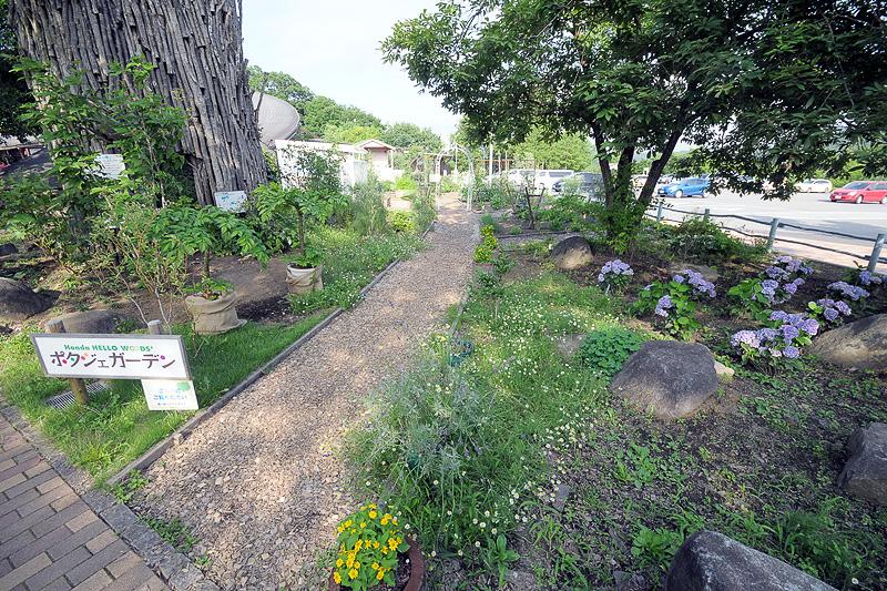 ハローウッズ入口にある「ポタジェガーデン」は、うっそうとした林を、ホンダの耕運機や芝刈り機で菜園としたもの