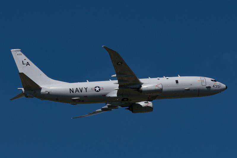 米海軍の対潜哨戒機P-8A。旅客機であるボーイング 737から派生した機種になる