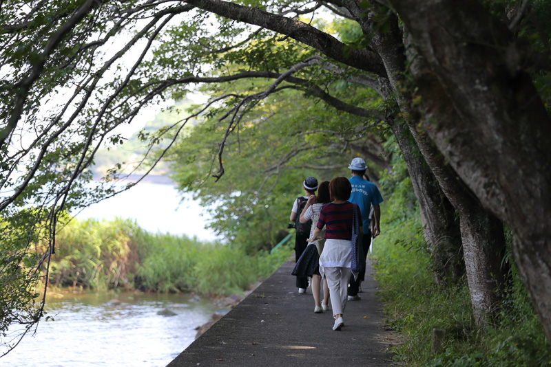 春には桜が咲きそろうという湖岸を歩きます。柵などありません