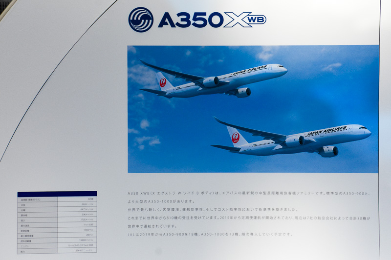 JALが導入するエアバス A350-900型機とA350-1000型機の情報も掲示