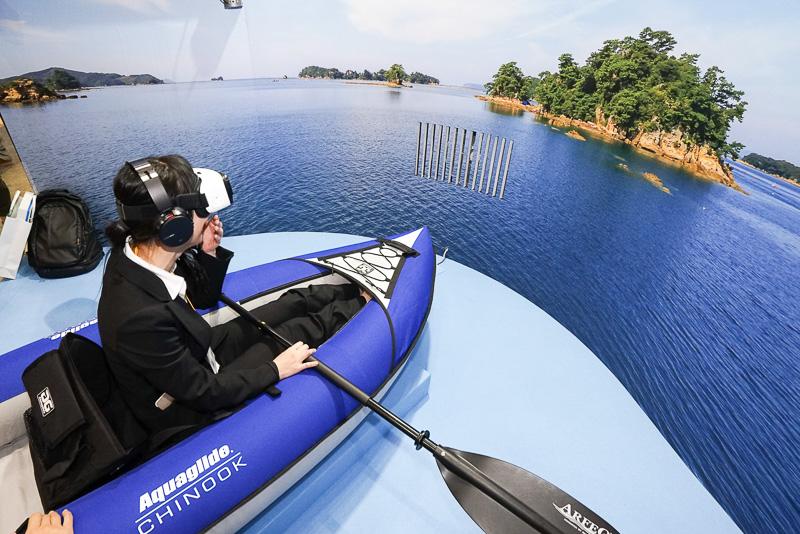 佐世保コーナーでは九十九島をVRで体験。前方から風も感じられる
