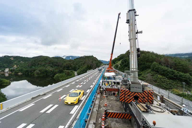 長野自動車道 小仁熊橋の床版取り替え工事現場(2016年9月13日撮影)