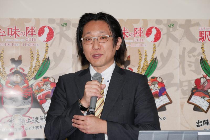 2015年の大会で駅弁大将軍を受賞した「鶏めし」を製造販売している花善の代表取締役社長 八木橋秀一氏