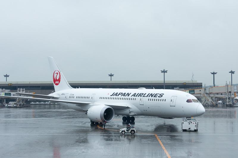 出発準備完了。あいにくの天気のなか、乗客122名を乗せてパリへ向かうJL415便