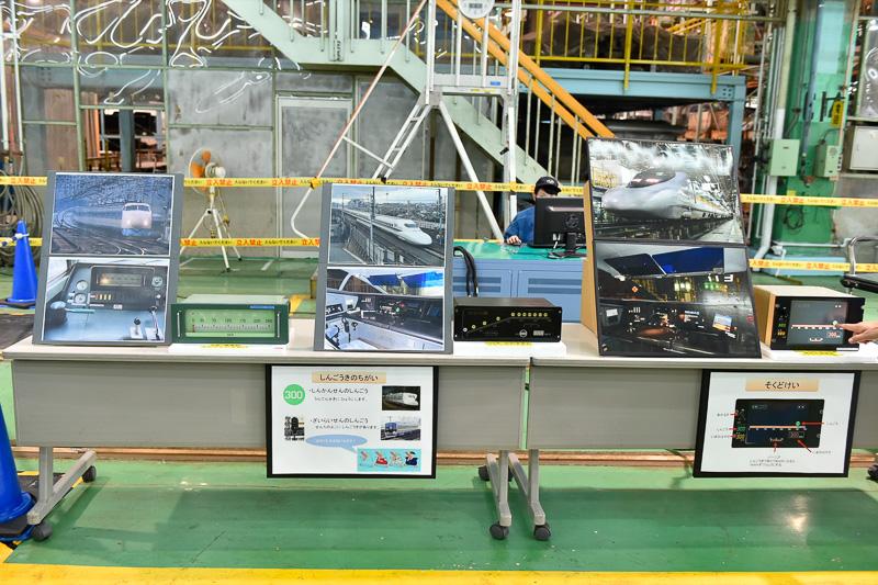 0系、700系、そしてN700系をはじめ前世代の700系や500系にも採用された速度計が展示されていた