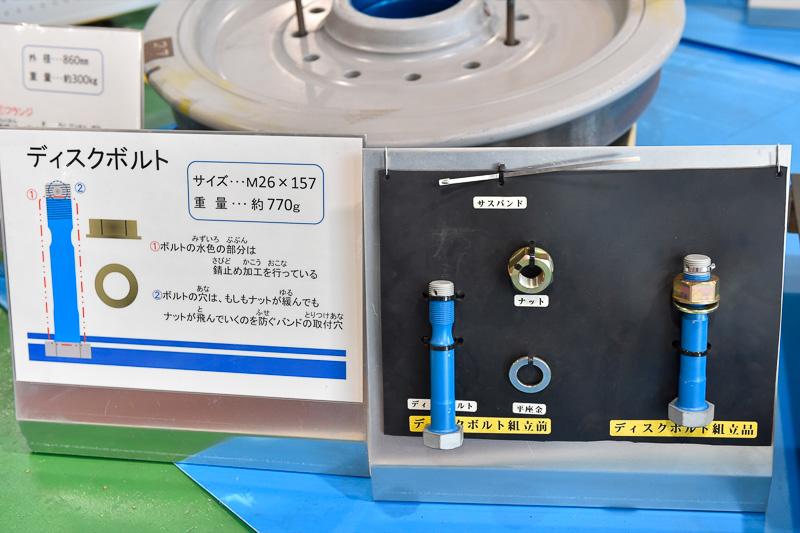 ブレーキディスクを固定するためのディスクボルト。高速回転する場所にあるため、万一緩んでもナットが飛んでいかないようにバンドの通し穴が開けられている