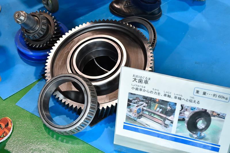 モーター出力を受け止める小歯車から、車輪へ動力を伝える大歯車