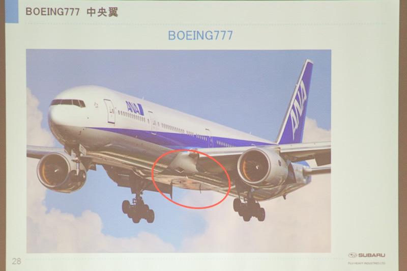 ボーイング 777の中央翼の位置