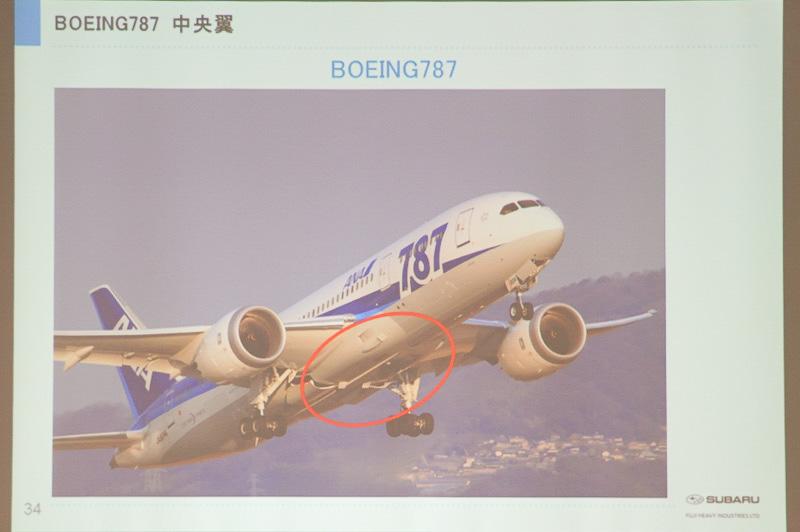 ボーイング 787の中央翼の位置