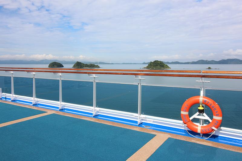 八代に入港した際の天候は快晴。天気がよいと本当に気持ちがよい