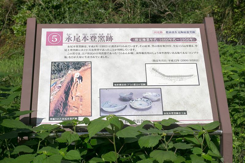 3日目は波佐見町教育委員会から文化財保護係 学芸員の中野雄二さんが案内してくれた。最初に向かったのは永尾本登窯跡。主に庶民用の器を作っていて、大量生産が可能な窯だった
