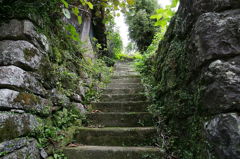 中尾山は遺跡もいいが町歩き自体も楽しいところ。住宅地を抜ける道は人が通るのがやっとの道幅だし、民家も古いものが多いので雰囲気のいい裏道がいたる所にある。ここを歩くだけでも訪れる価値がありそう