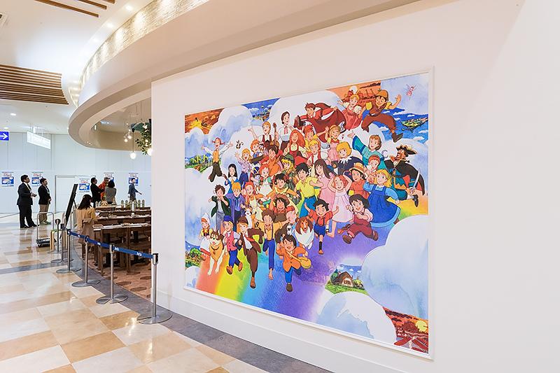 店舗の壁にはキャラクターが一堂に会したイラスト