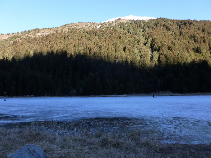 保護区入り口にある湖もすっかり凍っていて、ホッケーをする人もいました