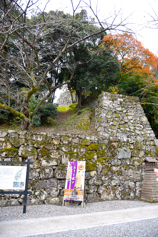 表門橋を渡った瞬間から、彦根城からの挑戦を受けることに。まずは登り石垣、そして不規則な表門山道の石段が行く手を立ちふさぐ
