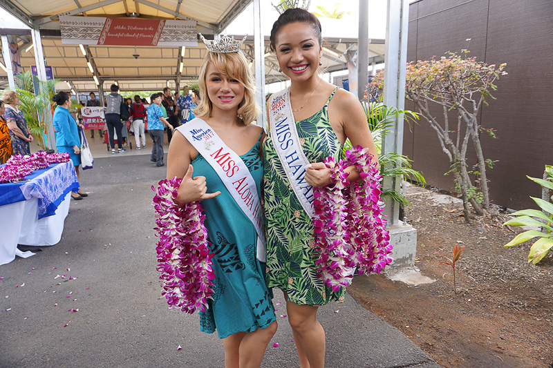 宴のあとになってしまったものの、ミス・ハワイとミス・アロハハワイからレイをいただいたので幸せ