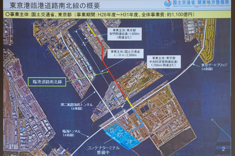 東京港臨港道路南北線の計画。赤い線の部分を国土交通省、黄色い線の部分を東京都が事業を行なう