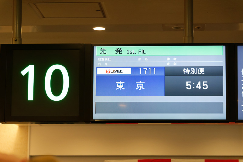 東京発、東京行の特別便として表示されていた