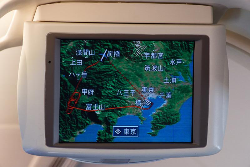飛行ルート。富士山の西側で何度も旋回しているのが分かる