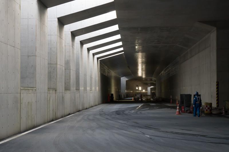 松戸IC(仮称)付近の地下部分。三郷南IC方面を見ている
