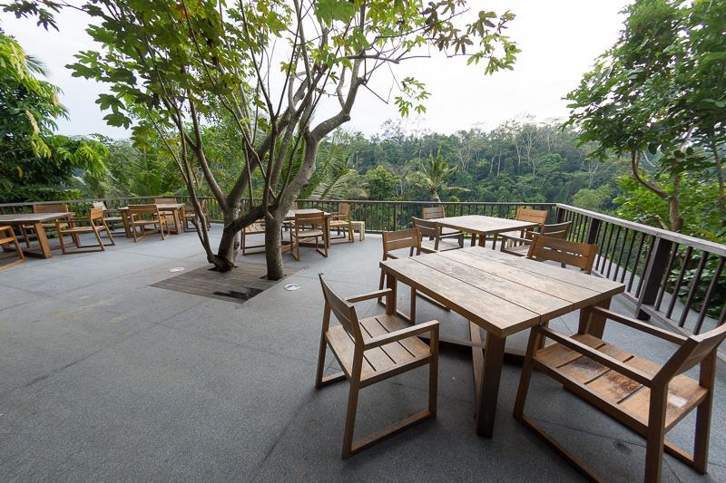 ライブラリ脇の階段を下ったところにも、テーブル席が並ぶスペース。いずれも木々に包まれた静かな時間を過ごせる空間だ
