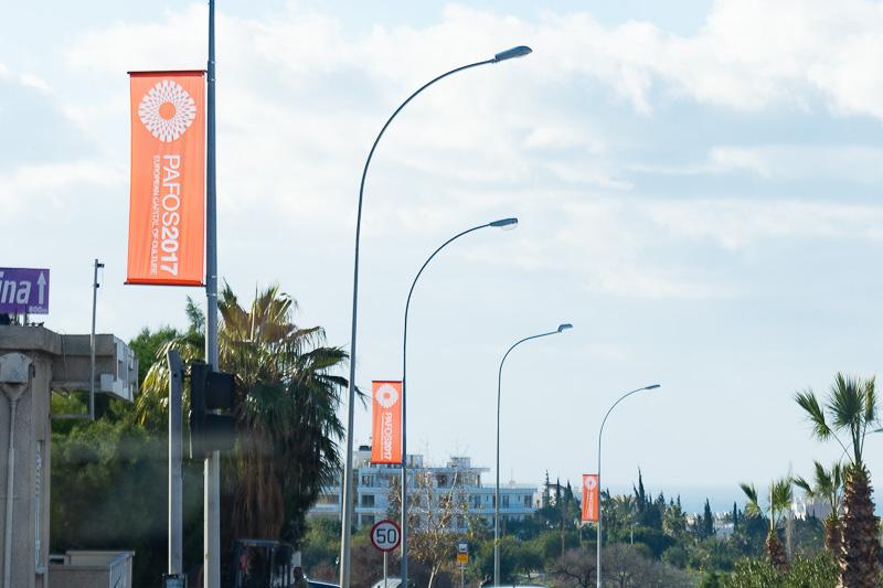 市内の道路でも「Pafos2017」の開催をPR