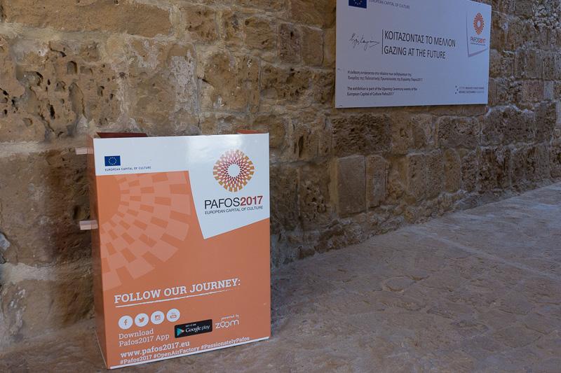 「要塞跡」の内部では、キプロス出身の映画監督であるマイケル・カコヤニス氏の映画のシーンをパネル展示