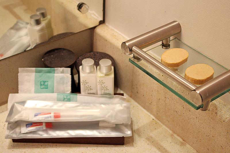 洗面スペースにはアメニティも充実