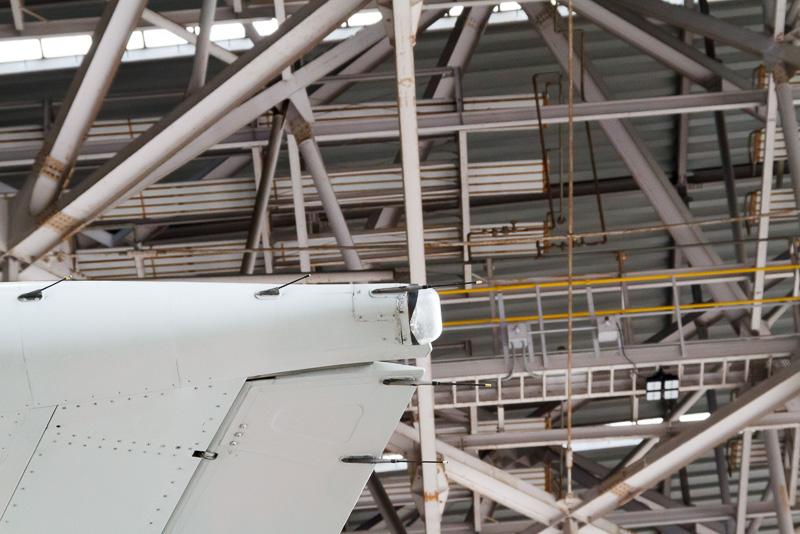 翼の先にヒゲのようにあるのが飛行中に蓄積する静電気を放電するための放電索