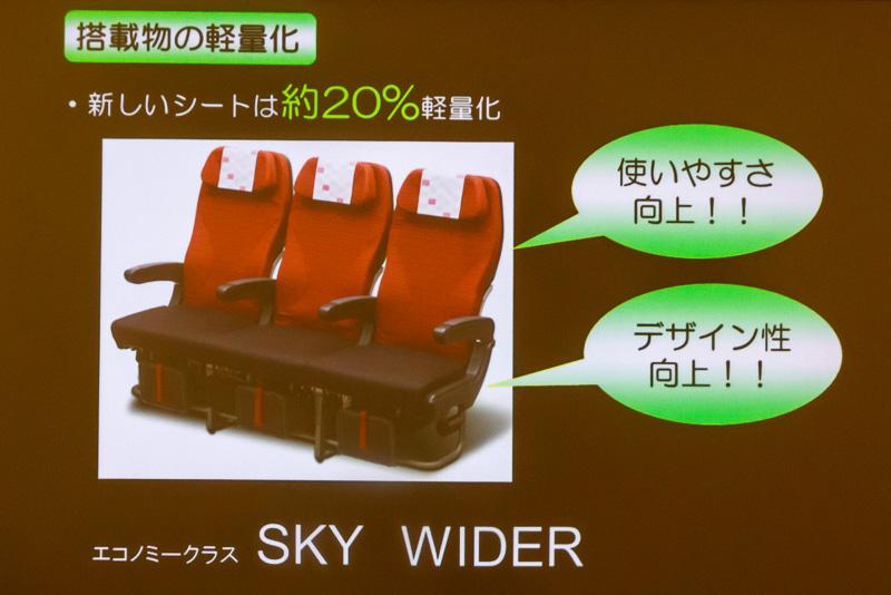 軽量化された新型のシートを採用する