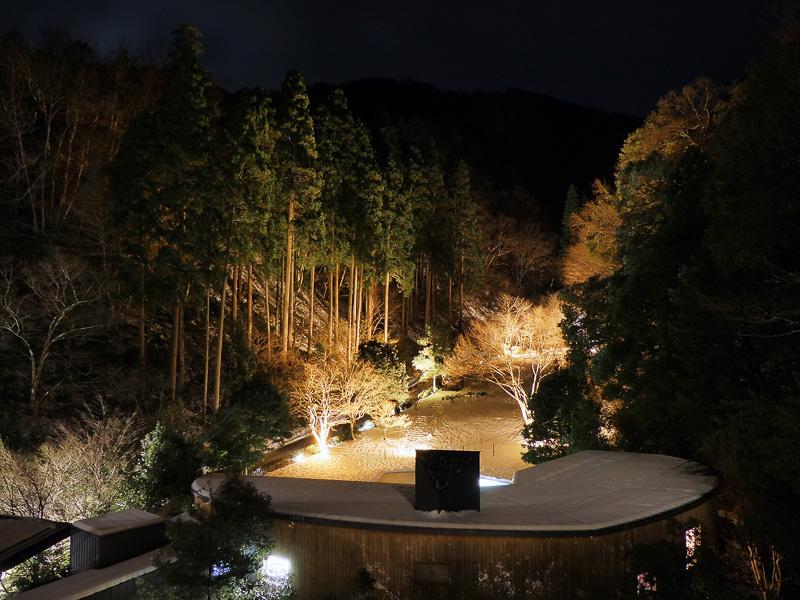 お部屋に戻って窓の外を見るとご覧の雪景色。夜の森林庭園は幻想的にライトアップされます。散策路があるので季節によっては庭園散歩も楽しめそう。夏はガーデンプールもあるみたいですよ
