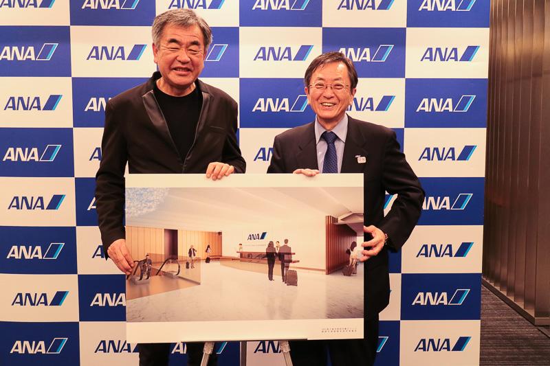 ANAは建築家の隈研吾氏(左)をデザイン監修に迎え、新千歳空港のANA国内線ラウンジを9月にリニューアルオープンする