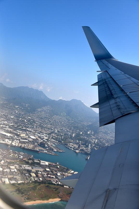 空港を定刻どおり飛び立ち、3日間お世話になったハワイをあとにした