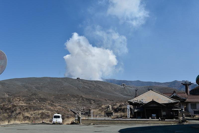 中岳火口まで、約1km。ロープウェイで858m、高低差108mを進むと火山西駅に到着するが現在は運休中