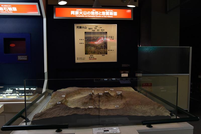阿蘇火山の地形と地質断面のジオラマ
