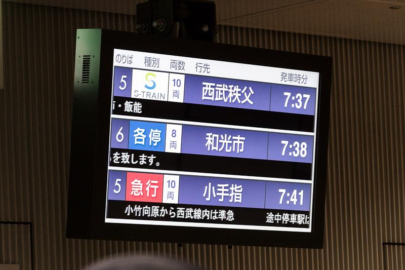 渋谷駅ホームの案内表示