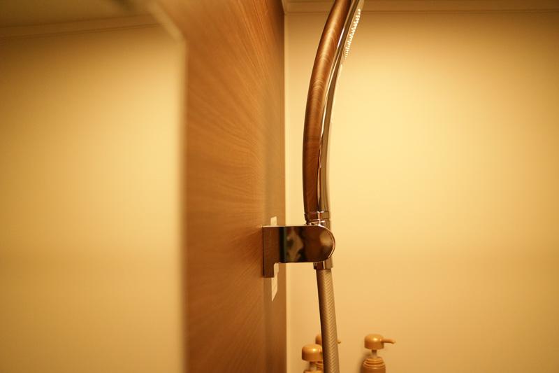 シャワーヘッドのフックは10度ずつ5段階で角度を変えられる