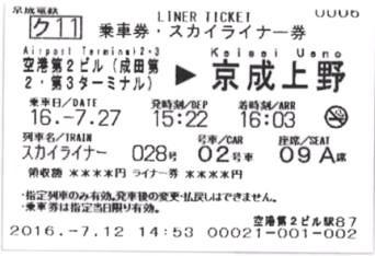 スカイライナーの乗車券・特急券イメージ