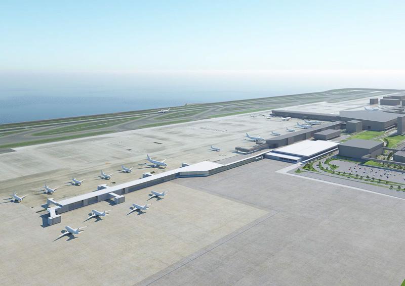 新ターミナルビルを南東側から北西方面に見た新ターミナルビルのイメージ