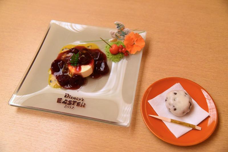 「チェリージュビレ バニラアイスクリーム添え パッションフルーツのソース 山椒の香り」と薄皮饅頭