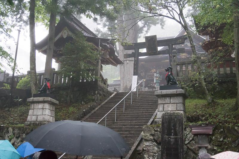 本殿と拝殿へと続く最後の階段はかなり急