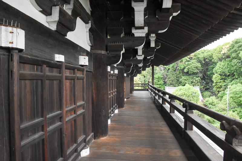 特別に許可を得て三門楼上へ。三門はすべて国産の木材で作られている