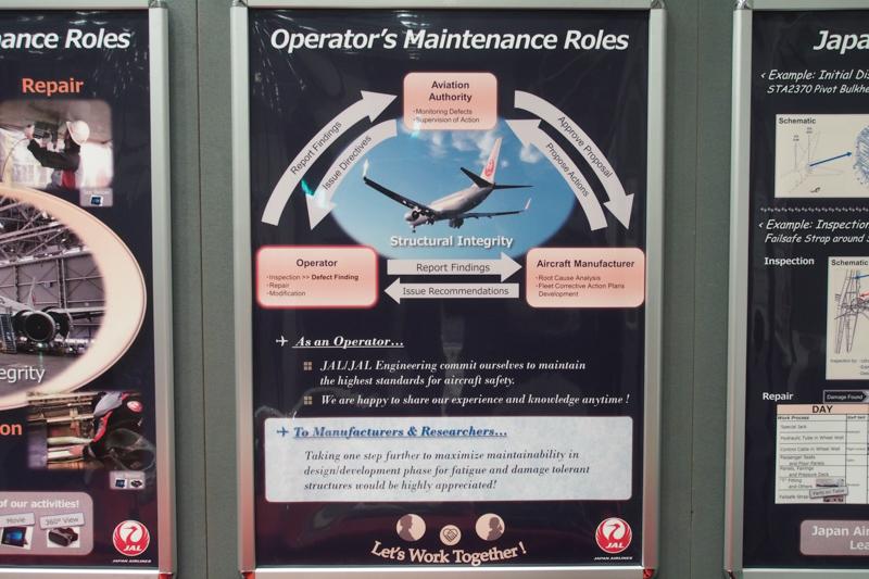 JALはパネルや、交換したパーツを展示