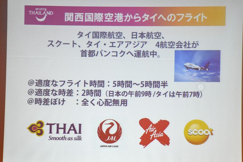タイの基本情報。フライト時間は5時間~5時間30分で、時差は2時間。現地の平均気温は29℃で、6月~10月が雨期(グリーンシーズン)にあたる